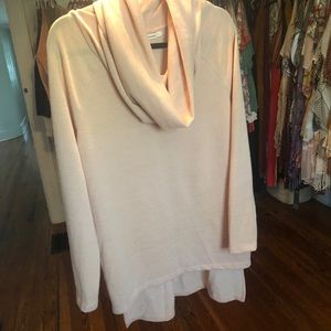 Peach High-Low Cowl Neck Sweater